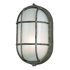 Modern Outdoor Wall Light with White Glass in Silver Rust Finish