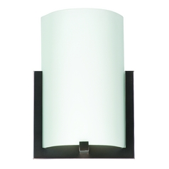 Modern Sconce Wall Light with White Glass in Merlot Bronze Finish