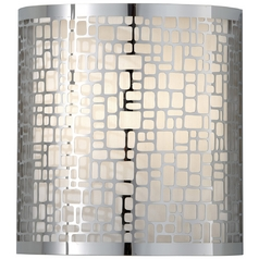Modern Sconce Wall Light with White Shade in Chrome Finish