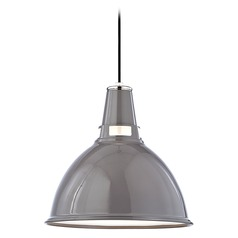 Modern Pendant Light in Gray/polished Nickel Finish