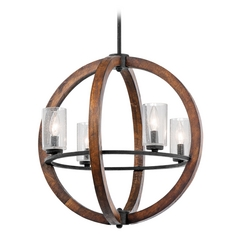 Kichler Chandelier with Clear Glass in Auburn Stained Finish