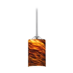 Design Classics Lighting Modern Mini-Pendant Light with Brown Art Glass 581-26 GL1023C