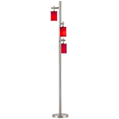 Satin Nickel SODO Floor Lamp with Red Cylindrical Glass Shade