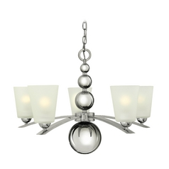 Retro Chandelier with White Glass in Polished Nickel Finish