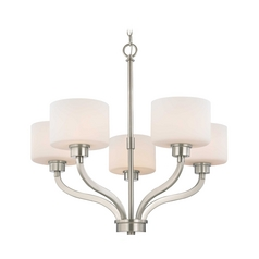 Chandelier with White Glass Drum Shades and Five Lights