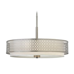 Frederick Ramond Jules Brushed Nickel Pendant Light with Cylindrical Shade