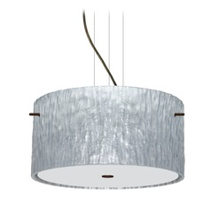 Besa Lighting Tamburo Bronze LED Pendant Light with Drum Shade