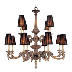 Metropolitan Lighting Chandelier with Black Shades in Amaretto Patina with Silver Finish N6188-473