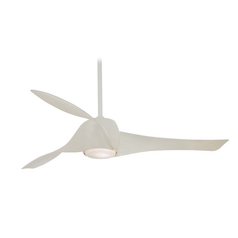 Modern Ceiling Fan with Light with White Glass in High Gloss White Finish