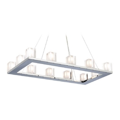 Modern Chandelier Light with Clear Glass in Polished Chrome Finish