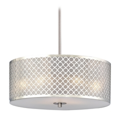 Design Classics Lighting Contemporary Drum Shade Pendant Light with Chrome Metal Shade DCL 6528-09 SH9462