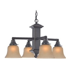 Design Classics Lighting Craftsman Chandelier in Bronze Finish with Amber Glass  375-78 / G9999