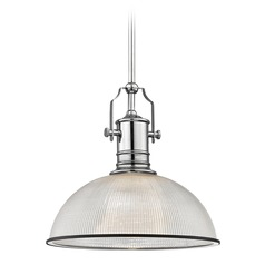 Farmhouse Industrial Pendant Light Prismatic Glass Chrome / Black 13.13-Inch Wide