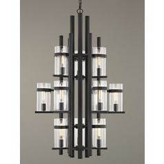 Seeded Glass Industrial Chandelier Bronze 3-Tier 12-Light