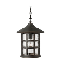 Outdoor Hanging Light with Clear Glass in Oil Rubbed Bronze Finish