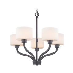 Dolan Designs 5-Light Chandelier with White Glass in Warm Bronze