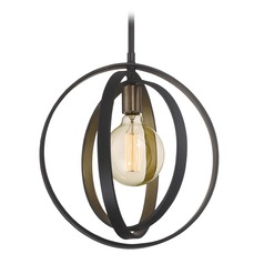 Mid-Century Modern Pendant Light Bronze Circuit by Quoizel Lighting