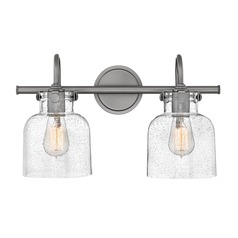 Industrial Seeded Glass Vanity Light Nickel 2 Lt by Hinkley Lighting