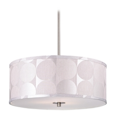 Modern Drum Pendant Light with Silver Deco Shade