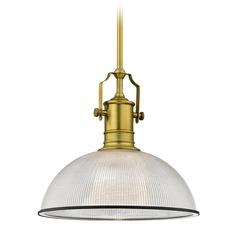 Farmhouse Industrial Pendant Light Prismatic Glass Brass / Black 13.13-Inch Wide