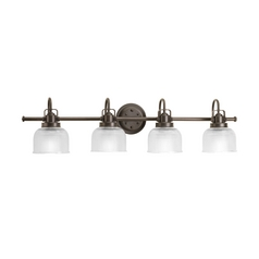 Farmhouse Bathroom Light Prismatic Glass Bronze Archie by Progress Lighting
