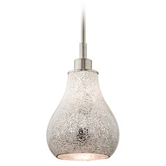 Kichler Lighting Crystal Ball Brushed Nickel Mini-Pendant Light with Bowl / Dome Shade