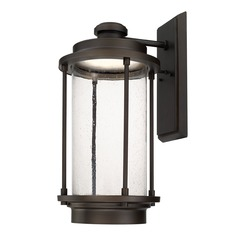 Seeded Glass LED Outdoor Wall Light Bronze Capital Lighting