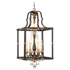 Chateau Nobles Raven Bronze with Sunburst Gold Pendant Light