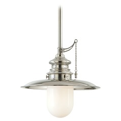 Pendant Light with White Glass in Polished Nickel Finish