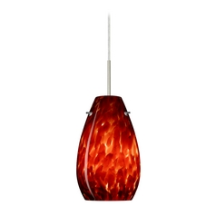 Modern Pendant Light Red Glass Satin Nickel by Besa Lighting