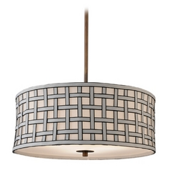 Contemporary Drum Shade Pendant Light in Bronze Finish
