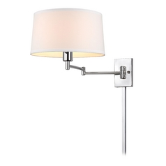 Chrome Swing Arm Wall Lamp With Drum Shade And Cord Cover
