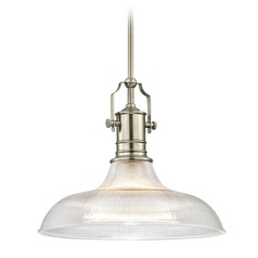Industrial Satin Nickel Pendant Light Prismatic Glass 15.38-Inch Wide