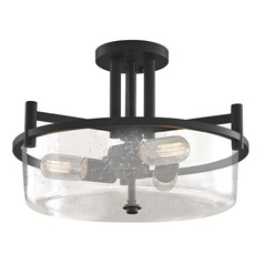 Seeded Glass Semi-Flush Ceiling Light Bronze