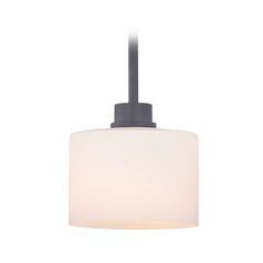 Bronze Mini-Pendant Light with White Glass Drum Shade