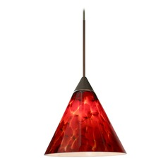 Besa Lighting Kani Bronze LED Mini-Pendant Light with Conical Shade