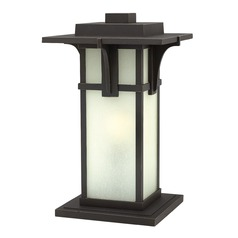 Etched Seeded Glass Pier Mount Light Oil Rubbed Bronze