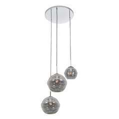 Kalco Lighting Celine Chrome Multi-Light Pendant with Globe Shade