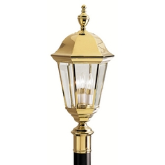 Kichler Post Light with White Glass in Polished Brass Finish
