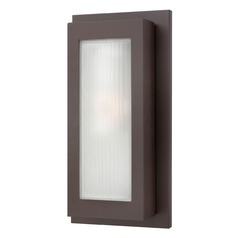 Modern Outdoor Wall Light with White Glass in Buckeye Bronze Finish