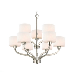 Dolan Designs Lighting Two-Tier Chandelier with White Glass Drum Shades and Nine Lights 1262-09