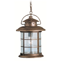 Kichler Outdoor Hanging Light with Clear Glass in Rustic Finish
