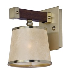 Mid-Century Modern Sconce Antique Pecan and Brass Maritime by Maxim Lighting