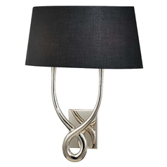Modern Sconce Wall Light with Black Shades in Silver Plated Finish