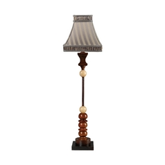 Table Lamp with Multi-Color Shade in Cimmaron Wood and Cream Marble Finish