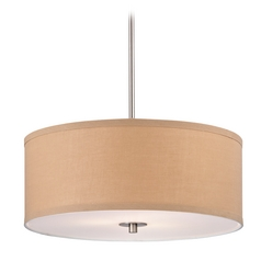 Design Classics Lighting Drum Pendant Light with Gold Linen Shade DCL 6528-09 SH9463