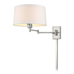 Swing-Arm Wall Lamp with Drum Shade and Cord Cover