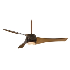 Modern Ceiling Fan with Light with White Glass in Copper Bronze Finish