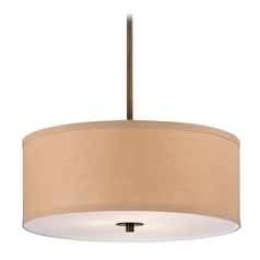 Contemporary Drum Pendant Light with Gold Linen Shade