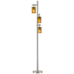 Satin Nickel SODO Floor Lamp with Carnival Cylindrical Glass Shade